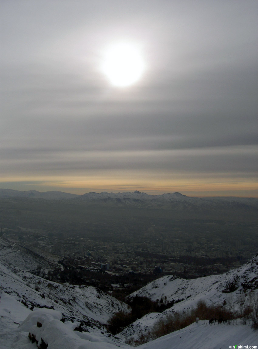 Tehran view from Tappe Sorkhi in kolakchal path