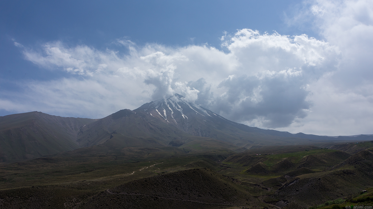 north face of damavand summit from chaman-bon i